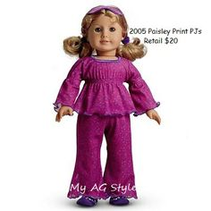 American Girl Doll Paisley Print PJs
