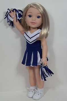 """3pc BLUE Cheerleader Uniform Doll Clothes For 14"""" AG Wellie Wisher Wishers (Debs"""