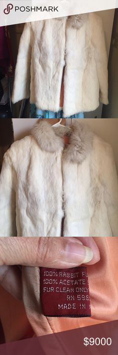 Take 50% off Till 12-3 Ivory rabbit fur jacket M This is a Stunning Rabbit Fur Jacket Size Medium. The quality is unreal. You will feel like a queen and the price is amazing. The fur is 100% rabbit and the lining is 100% acetate. Jackets & Coats
