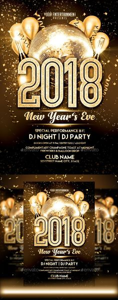 New Year 2017 Gold Party Free Flyer Template afiches\poster - new year brochure template