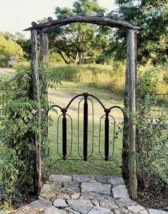 Headboard re-used as garden gate