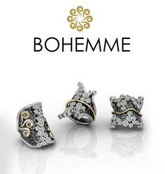 Sortijas de plata y oro con circonitas blancas.