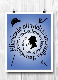 Sherlock poster Holmes quote Baker street by PrintCorner on Etsy