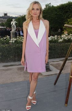 Haute Couture: Diane looked stunning in a lilac tunic dress, which she paired with simple white heels