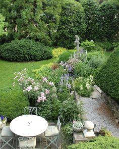 "Gardens at First Light on Instagram: ""Backyard bliss. Garden angels watching over you. 🌸💚🌸 ... ... ... ... #gardeninspiration #gardening #inthegarden #gardencollage…"""