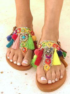 Colorido /Carousel/ Pom Pom sandalias sandalias de colores