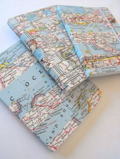 Recycled Woven Vintage Map Journal Gift set of 3 by RubyMurray