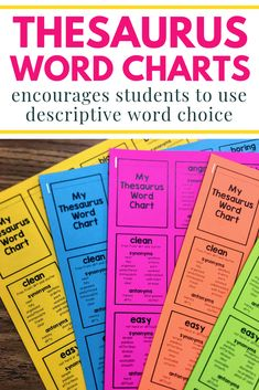 These thesaurus word charts are a great writing resource for students. Each word chart contains a variety of commonly used words and then gives students other words that are more descriptive and exciting. Students will really be able to improve their word choice with this great writing tool. 7th Grade Writing, 4th Grade Reading, Guided Reading, Teaching Grammar, Teaching Writing, Teaching Ideas, Editing Writing, Writing Ideas, Thesaurus Words