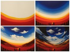 """Evolution of """"Majestic"""" painted @ Painting with a Twist Miami - would work for a bean painting!!"""