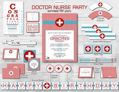Doctor Nurse Party Package - Birthday or Graduation Party - Diy Printable File (PARTIAL INSTANT DOWNLOAD!!)