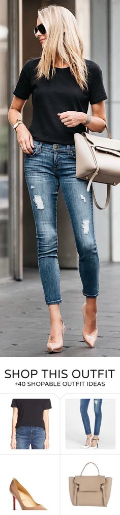 T-shirt Paired With Distressed Skinny Jeans And Heels