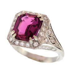 Pink Sapphire and Diamond Platinum Ring