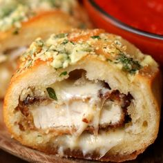 Chicken Parmesan-Stuffed Garlic Bread