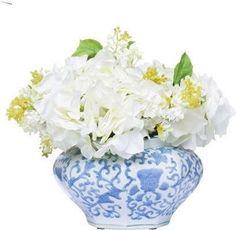Hydrangea/Lilac In Bl/Wh Bowl Faux Flower Arrangements, Interior Plants, Faux Flowers, Hydrangea, House Plants, Lilac, Vase, Dallas, Home Decor