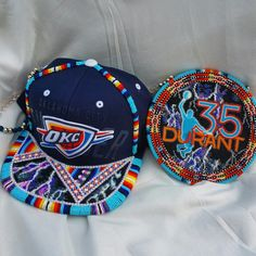 #shawneedesignz  Commissioned  Durant thunderstorm  medallion paired next to thunderstorm beaded OKC Thunder hat..all cut beads. The hat is available. www.shawneedesignz.com