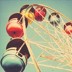 Retro photography carnival photo ferris wheel nostalgia by bomobob, $30.00