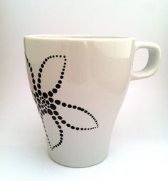 Hand-painted Modern Flower Coffee Mug - Black & White.