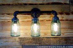 1933 1962 Three Ball Mason Jar Wall Sconce Light by ConshyUpcycle