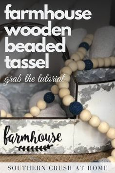 The perfect addition to your farmhouse decor! Learn how to make this wooden beaded tassel with my latest DIY tutorial.    #farmhouse #decor #DIY Decorating Your Home, Decorating Ideas, Decor Ideas, Craft Ideas, Wood Bead Garland, Beaded Garland, Diy Tassel, Tassels, Bakers Twine