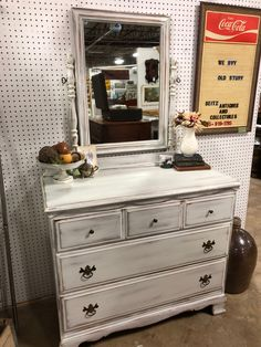 Antique white chest with mirror