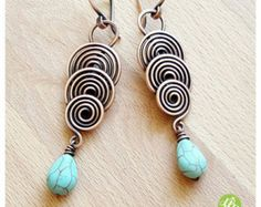 Long spiral earrings turquoise jewelry wire wrapped earring copper wire earrings copper wire jewelry handmade earrings wire, copper jewelry