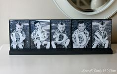 DIY- love this idea for displaying separate photos together. Great fathers day gift too.
