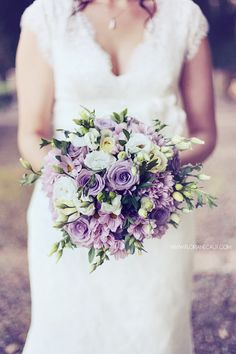 Green, soft purple and white / peonies, asters and roses <3