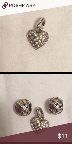 """Price⬇️ from $11 Brighton Crystal heart charm Listing is for one Brighton Crystal heart charm Silver plated  Swarovski crystals on both sides  1/2"""" wide by 7/16"""" high  Like new condition All crystals intact.    Two of these Charms are available; see separate listing in closet for second one.   See last photo for design idea; shown with Brighton woven-look beads  **More Brighton charms, beads & jewelry in closet including items shown in last photo. Bundle up and save 20% on 2 or more…"""