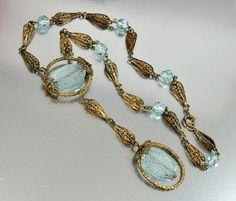 Gold Filigree Intaglio Glass Czech Art Deco Necklace