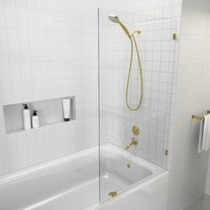 A Glass Warehouse frameless shower door can instantly make your bathroom look bigger and brighter, adding a fresh and modern feel yet having the versatility to complement any bathroom style. The GW range of frameless shower doors come with exceptional high quality brass fittings in a variety of beautiful finishes. GW glass exceeds the American and International Standard codes. All GW shower doors are coated with the revolutionary invisible treatment - Enduroshield. This treatment repels water, s Bathtub Shower Doors, Frameless Shower Doors, Glass Shower Doors, Bathtub With Glass Door, Cleaning Shower Glass, Glass Hinges, Black Shower, Shower Cleaner, Warehouse