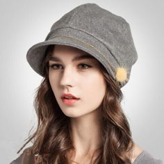 Autumn beret hat for women winter wool flat cap hair bulb decorative