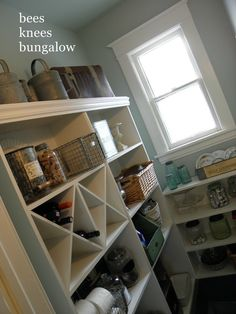 Martha Stewart  Rainwater...the color for the laundry room?  And shelves ...