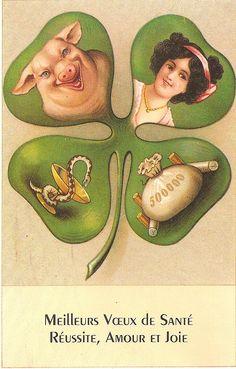 Carte porte bonheur Lucky Symbols, Good Luck Symbols, Old Symbols, Sacred Symbols, Vintage Cards, Vintage Postcards, Xmas Pictures, Xmas Pics, Heroic Age