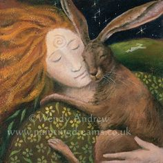 Hare Huggle : Wendy Andrew : Artists : Home : Pagan/spiritual and fairy/fantasy greeting cards, prints and gifts at Moondragon Hare Illustration, Illustrations, Fantasy Kunst, Fantasy Art, Lapin Art, Celtic Goddess, Clark Art, Rabbit Art, Rabbit Totem