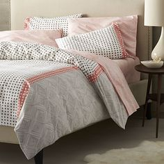 Torben Coral Duvet Covers and Pillows Shams    Crate and Barrel