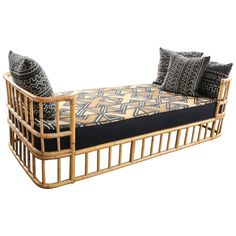 Mid-20th Century French Rattan Daybed | From a unique collection of antique and modern day beds at https://www.1stdibs.com/furniture/seating/day-beds/
