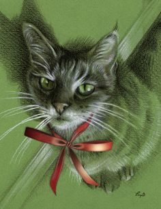 """Christmas Menkara on Green"" - colored pencil on green paper"