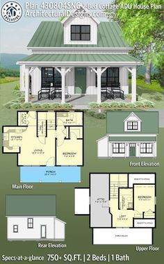Small Cottage Homes, Small Cottages, Cottage House Plans, Tiny House Plans, Small Homes, Small House Plans Under 1000 Sq Ft, Small Home Plans, Cabin Floor Plans Small, Small House Design