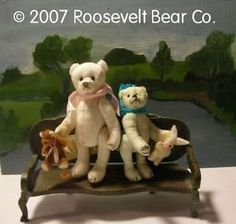 2 Artist Teddy + chair ROOSEVELT BEAR Co  Tiny MINIATURE ooak SET Cathy Peterson From our repertoire of lovelies... A new Teddy Bear  #rooseveltbearco #cathypeterson #handmade #artistteddybears #teddybear #bears #plush #jointed #collector #teddybears #ted #circus #miniature #collctortoys #toycollector #designertoys #miniature #mohair #tinyteddy #roosevelt #toys #dolls #plushtoys #collectible #wine #bountiful #ventura