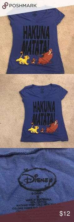CYBER MONDAY SALE HAKUNA MATATA!! EUC LION KING T Who doesn't love that line!! Tee is so adorable! Fits women and kids ! Will list in women's section but definitely fits 12-16 kids ( different ways obviously) everyone deserves a HAKUNA MATATA TEE ! We have many Disney Tops Tees - Short Sleeve