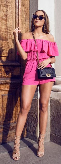 Ruffle Off Shoulder Pink Playsuit by Kenzas