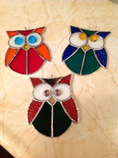 Happy Stained glass owls I made for friends! #StainedGlassOwl #StainedGlassAbstract