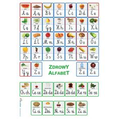 Zdrowy alfabet - plakat z literami - iPomoce French Flashcards, Flashcards For Kids, Polish Alphabet, Learn Polish, Polish Language, Montessori, Letters, Teaching, Education