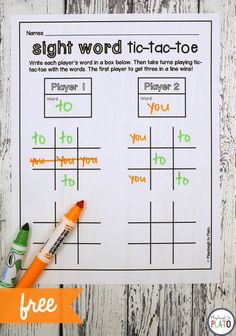 Tic-Tac-Toe - Playdough To Plato in Tic Tac Toe Template Word - Business Template Ideas Word Work Games, Word Games For Kids, Word Work Stations, Letters For Kids, Spelling Activities, Sight Word Activities, Vocabulary Games, Literacy Stations, Kindergarten Activities