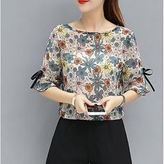 Women's Going out Cute Blouse,Floral Round Neck Short Sleeves Cotton 2018 - S$16.1