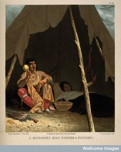 A North American Indian shaman or medicine man healing a patient. Chromolithograph by C. Schuessele after Captain Eastman. Pl. 46.