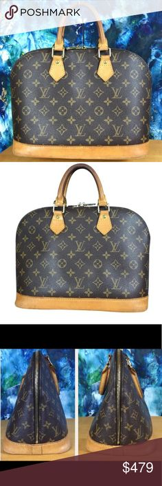 Louis Vuitton 🌹 Alma Monogram  Satchel LV Canvas Louis Vuitton Brown Monogram Canvas Alma Satchel and Lock Set #230  Made in France  Datecode: VI1919    -Double Leather Handles  -Goldtone Hardware   -Zip Closure  -Interior Pocket  -Includes Lock and Key Set #230  ⭐️Preloved⭐️There are some scuffs and marks. There is wear and aging on the leather bottom and handles. The hardware is scratched and tarnished. The interior is rather clean with only a few marks. The zipper and lockset both work…