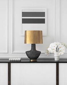 M I X ❗️ The strikingly beautiful Armato Table Lamp features a unique porous texture stained in metallic bold black 🖤 mix with solid brass accents and a contemporary slightly-tapered shade for an effortlessly classy feature piece. - In stock at Bloomingdales 👌 - @kellywearstler @visualcomfortco Visual Comfort Lighting, Kelly Wearstler, Luxury Lighting, Small Tables, Light Table, Home Goods, Table Lamp, Ceramics, Contemporary