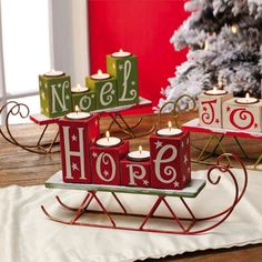 Happy Holidays Hope Joy Noel Wooden Candle Holder