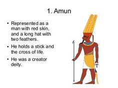 Amun● Represented as a man with red skin, and a long hat with two feathers.● He holds a stick and the c. Ancient Egyptian Deities, Egyptian Mythology, Egyptian Goddess, Ancient Artifacts, Amon, Wiccan Spell Book, Egypt Art, Ancient Aliens, Ancient History